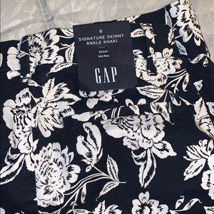 Navy floral GAP skinny khakis